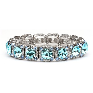 Mariell Bridesmaid Or Prom Stretch Bracelet With Aqua Crystals 532b-aq