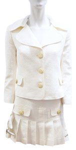 Dolce&Gabbana NEW D&G DOLCE & GABBANA WHITE 2 PIECE SET BLAZER JACKET SKIRT WITH PLEATS 2 XS