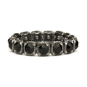 Mariell Bridesmaid Or Prom Stretch Bracelet With Jet Black Crystals 532b-je