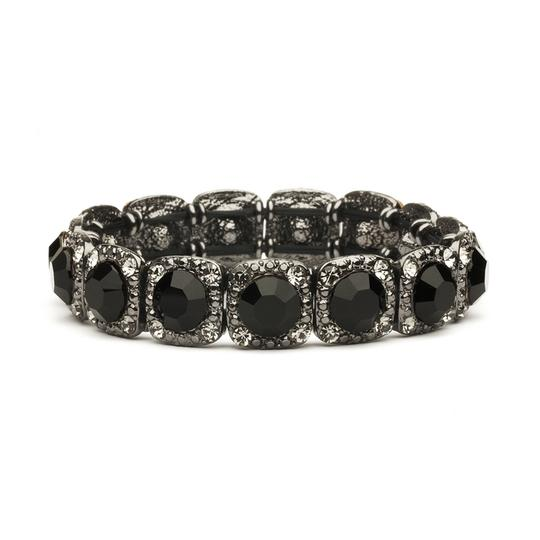 Mariell Black Bridesmaid Or Prom Stretch with Jet Crystals 532b-je Bracelet