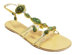 Giuseppe Zanotti Gold Green Stone Rhinestone Strappy Chain Flat 8.5 Green, Gold Sandals