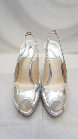 Dior Christian Miss Peep Toe Patent Silver Pumps