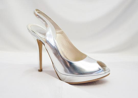 5357522534a Dior Silver Christian Miss Peep Toe Patent Heels M Pumps Size US 6 ...