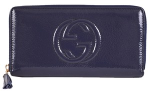 Gucci Gucci 308004 Soho Vernice BLUE Patent Leather Zip Around Wallet