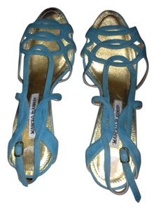 Manolo Blahnik Suede Strappy Aqua Acqua Blue Sandals