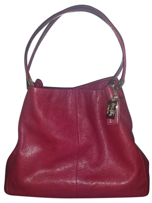 Item - Phoebe Madison Small Red Refined Pebble Leather Shoulder Bag