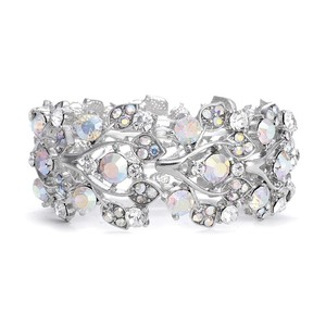 Mariell Bold Crystal Ab Vine Wedding Stretch Bracelet 644b