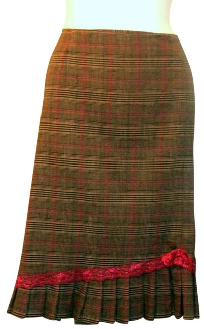 Requirements Plaid Pleated Skirt Brown