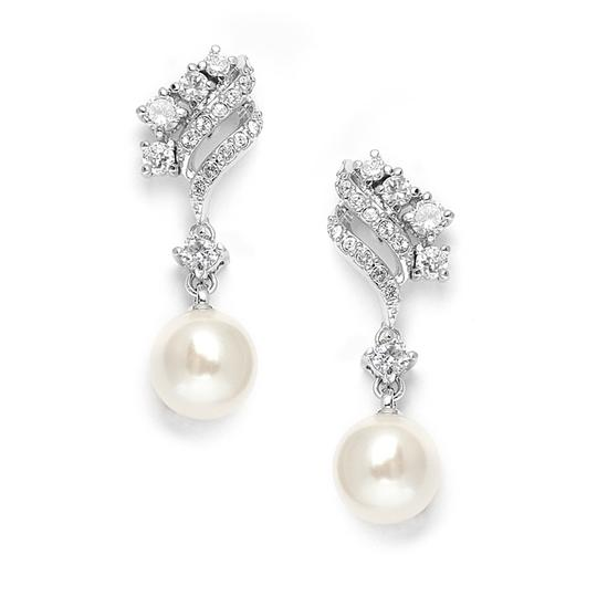 Mariell Cubic Zirconia Waves Wedding Earrings With Cream Pearls 705e