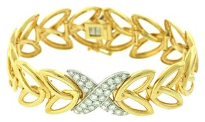 Tiffany & Co. RARE Tiffany & Co. 18k Gold 'X' 1.75ct Diamond Open Leaf Link Bracelet