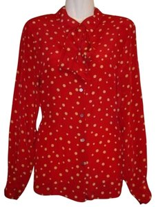 Amanda Smith Silk Top Red Polka Dot