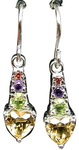 Other NATURAL CITRINE, PERIDOT, AMETHYST & GARNET 925 STERLING SILVER EARRINGS