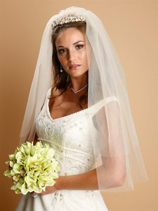 Mariell Ivory Medium Two Layer Cut Edge 928v-20-i Bridal Veil