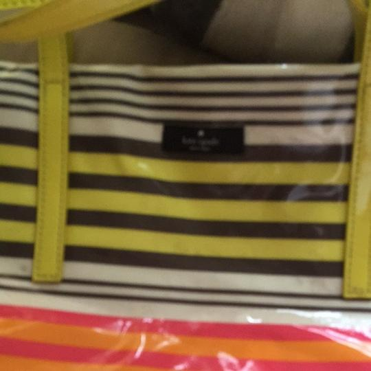 Kate Spade Tote in Yellow, Gray, Pink, Orange And White Stripes
