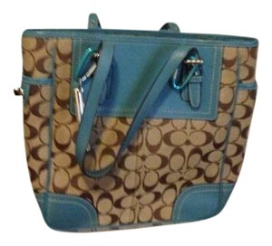 Coach Tote in Teal and brown