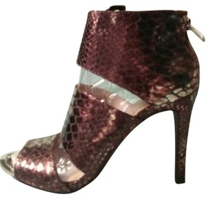Jessica Simpson Embossed Open Toe Leather Studded Zipper Snake Sandals
