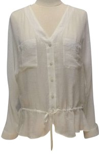 Ann Taylor LOFT Peasant Bohemian Semi Sheer Top off white