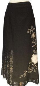 Garnet Hill Embroidered Lace Wool Long Maxi Skirt black