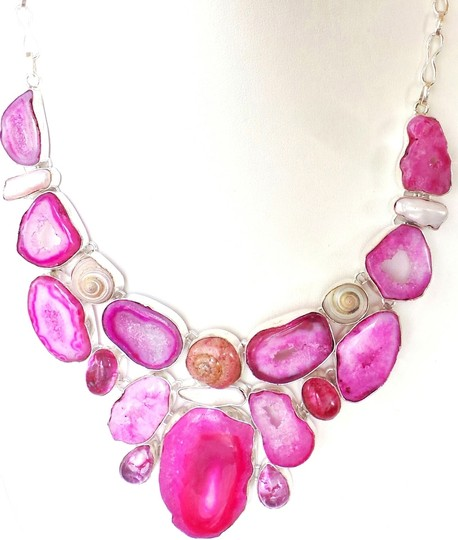 Other HUGE Pink Druzy & Sea Shell 925 Sterling Silver Large Statement Necklace