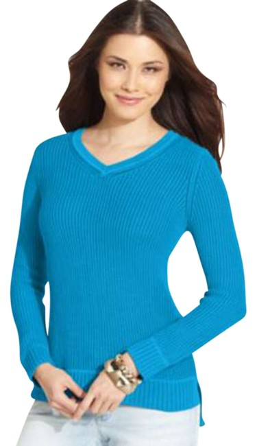 Preload https://item1.tradesy.com/images/style-and-co-blue-styleco-long-sleeve-textured-sweaterpullover-size-petite-2-xs-403770-0-0.jpg?width=400&height=650