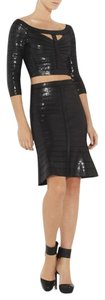Hervé Leger Beaded Bcbg Max Azria Top Black