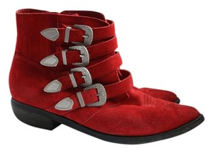 Kelsi Dagger Suede Buckle Silver Hardware Red Boots