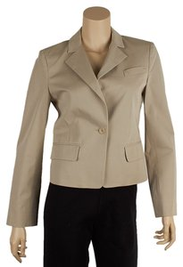 BCBGMAXAZRIA Cotton Blend One Button Beige Blazer