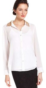 Sunny Leigh Sequined Collar Sheer Top White
