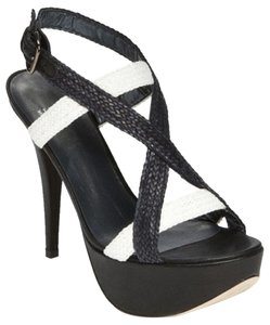 Stuart Weitzman Black and WHite Platforms