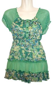 Limited Too Floral Peasant Top Green