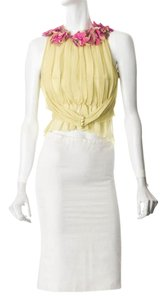Chanel Silk Cc Suit Runway Pom Pom Yellow Top Multi