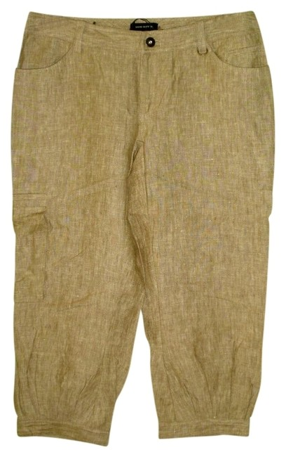 Buffalo David Bitton Linen Pants Cropped Cuffed Embroidered Capris Khaki