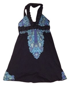 Free People short dress Black Embellished Print Summer Evening on Tradesy