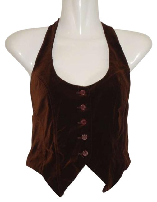 Necessary Objects Vintage Bareback Velvet Vest Top Brown