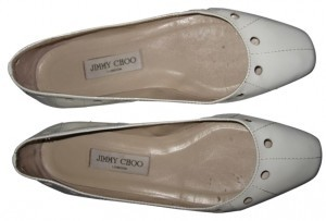 Jimmy Choo Patent Leather Ballet With Circular Cutouts White Flats