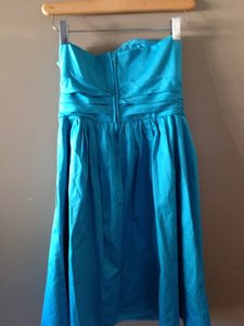 David's Bridal Malibu/ Teal Davids Bridal Strapless Dress In