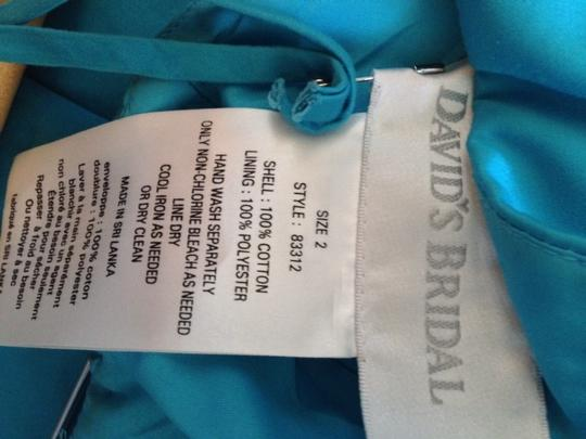 David's Bridal Malibu/ Teal Strapless In Bridesmaid/Mob Dress Size 2 (XS)