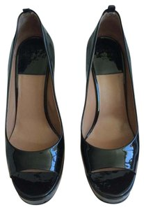 Laurence Dacade Patent Leather Open Toe Designer black Pumps