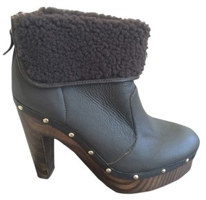 Elie Tahari Designer Clog Wool Leather Chocolate Brown Boots