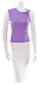 Chanel Collection Blouse Shirt Sleeveless Cc Logo Top Purple