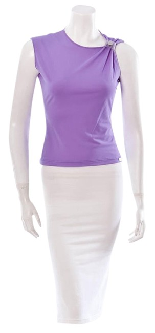 Chanel Cruise Collection Blouse Shirt Sleeveless Cc Logo Top Purple