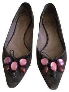 Miu Miu Italian Designer Leather Brown Flats