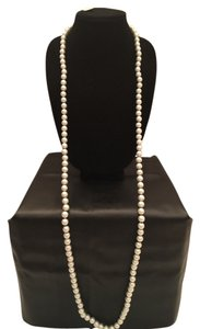 White House | Black Market WHBM Long Glass Pearl Necklace- White Pearls