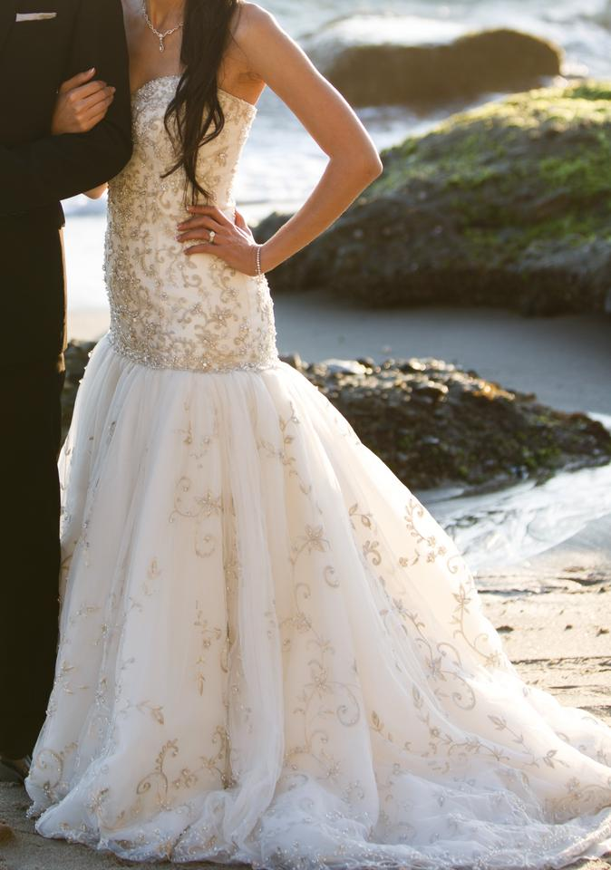 Ivory Fit and Flare Bead Bling Bedazzled Formal Wedding Dress Size 4 ...