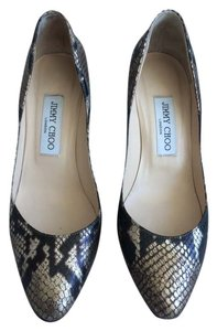 Jimmy Choo Python Leopard Desinger Black & Gold Pumps