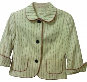 Talbots Beige with black dots and red trim Blazer