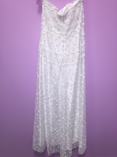 Jessica McClintock White Satin and Lace 24791 Wedding Dress Size 8 (M)