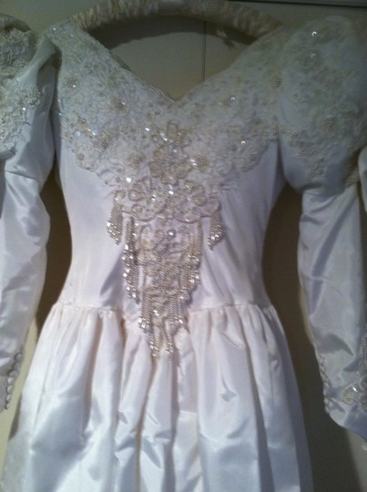 Demetrios White Satin Custom Made Wedding Dress Size 4 (S)