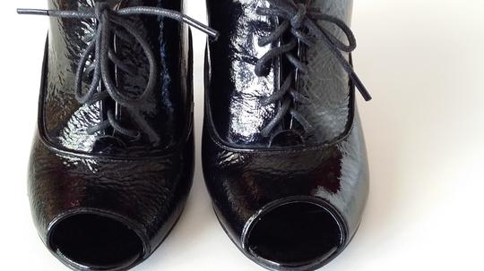 ALDO Patent Leather Open Toe Vintage Black Boots