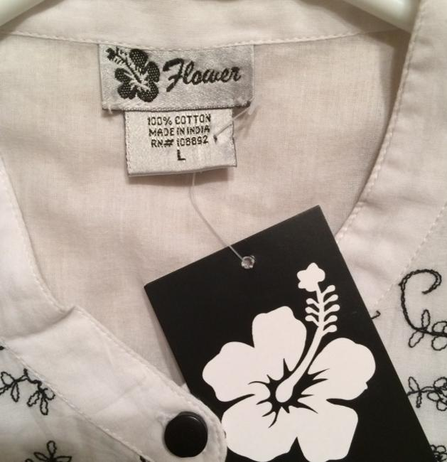 Shabri Fashions Button Down Shirt White and Black
